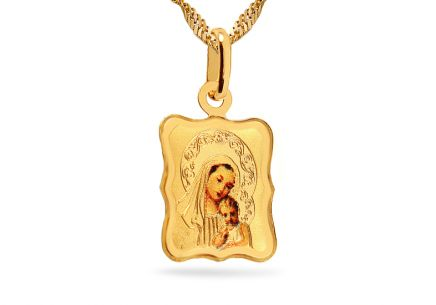 Goldmedaillon Madonna mit Kind in den Armen