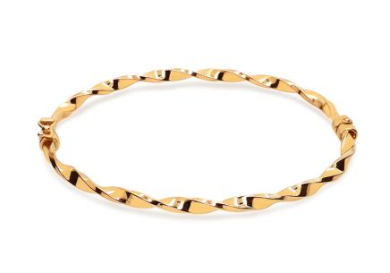 Gold ovales Twisted Hoop Armband