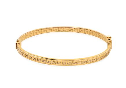 Gold ovales Creolenarmband mit griechischem Muster