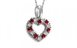 Diamant Herz 0,350 ct Red Ruby Heart