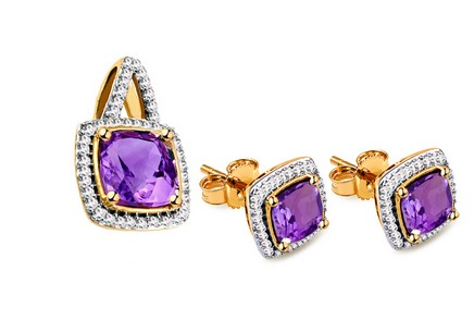 Amethyst Set mit Diamanten 0,190 ct Casandra