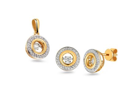 Brillant Set aus kombiniertem Gold Dancing Diamonds 0,420 ct