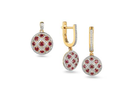 Brillant Set mit Rubinen aus der Kollektion Rose 0,560 ct