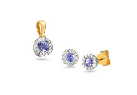 Brillant Set mit Tansanit 0,130 ct