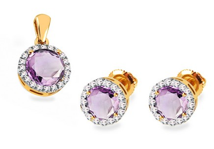 Goldset mit Amethyst und Diamanten 0,350 ct Lainey