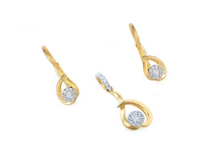 Goldset mit Brillanten 0,190 ct