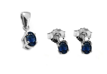 Saphir Set mit Diamanten 0,030 ct Gennie