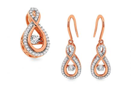 Set aus Roségold mit Diamanten 0,390 ct Dancing Diamonds