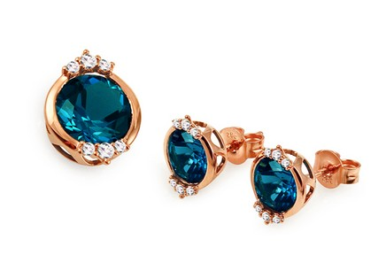 Set mit London Blue Topas und Diamanten 0,240 ct Catelyn