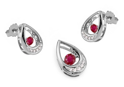 Set mit Rubinen und Brillanten 0,080 ct Dancing Rubies white