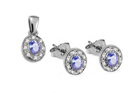 Tansanit Set mit Diamanten 0,080 ct Sylvia