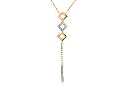 Brillant Gold Halskette mit Quadraten 0,030 ct