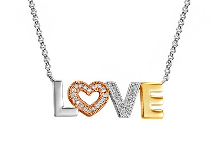 Gold Halskette mit Diamanten Love