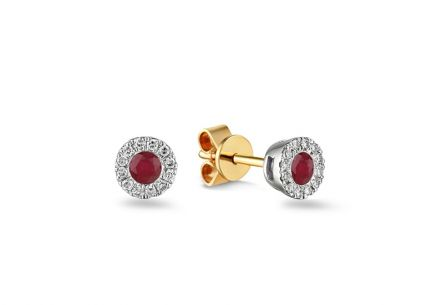 Brillant Ohrringe mit Rubin 0,090 ct