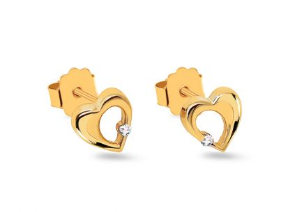 Gold Diamant Ohrringe Ohrstecker 0,020 ct Herzen
