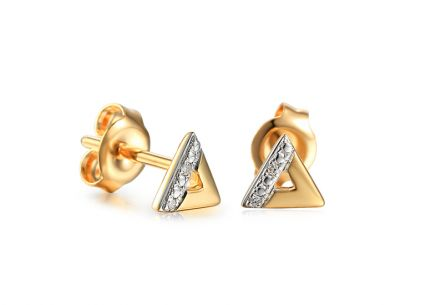 Goldohrringe dreieckig mit Diamanten 0,010 ct Triangle 2