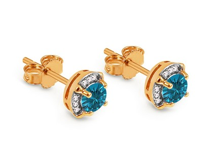 Goldohrringe mit London Blue Topas und Diamanten 0,050 ct Lashea