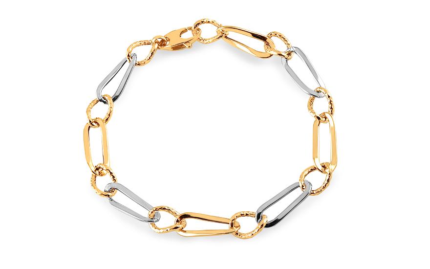 moderner Stil verfügbar ästhetisches Aussehen Elegantes Armband aus kombiniertem Gold mit Gravur