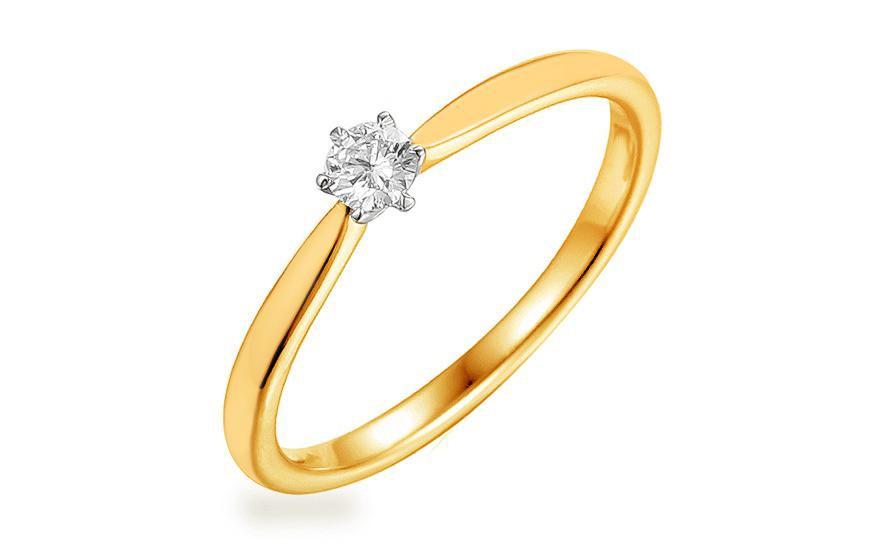 Gold Verlobungsring Mit Einem Diamanten 0 100 Ct Aurin Fur Damen