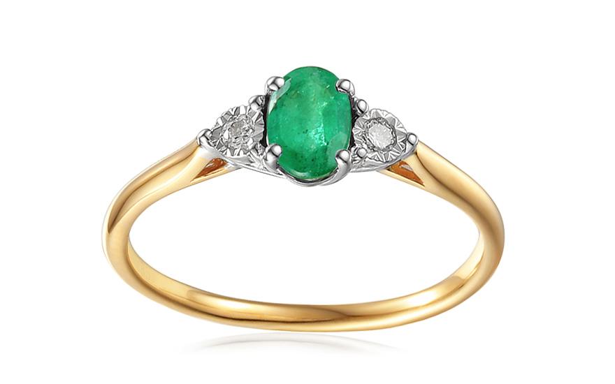 Gold Verlobungsring Mit Smaragd Und Diamanten 0 080 Ct Stenya 2 Fur