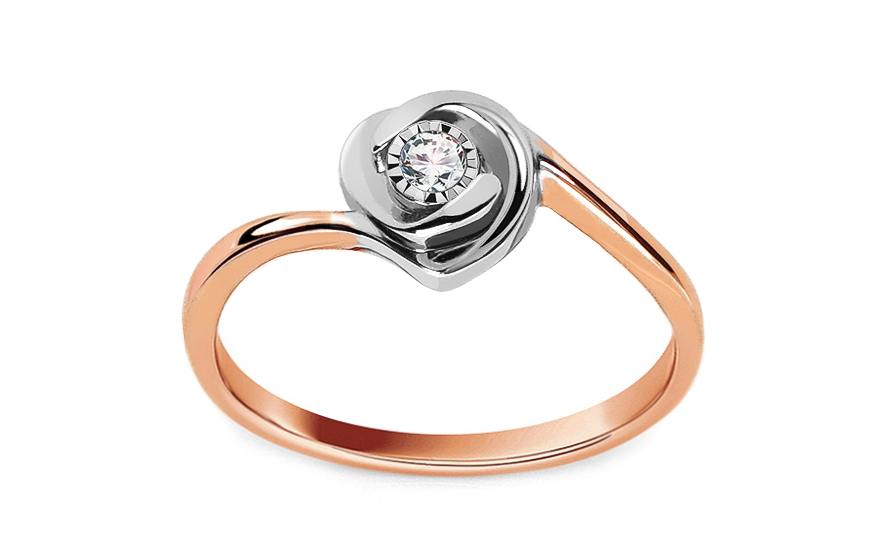 Gold Verlobungsring Zweifarbig Mit Einem Diamanten 0 050 Ct Janey