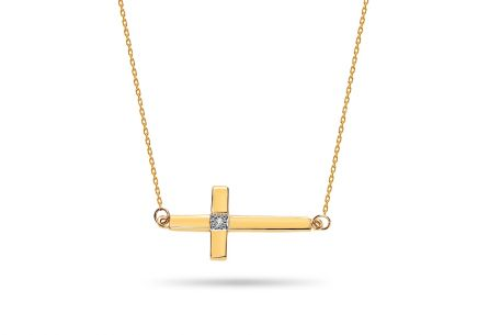 Diamant Gold Halskette Kreuz 0,050 ct