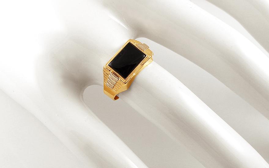 herren goldring mit onyx boston f r herren iz11934. Black Bedroom Furniture Sets. Home Design Ideas