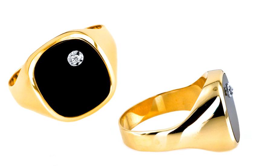 herren goldring mit onyx und zirkon f r herren iz6898. Black Bedroom Furniture Sets. Home Design Ideas