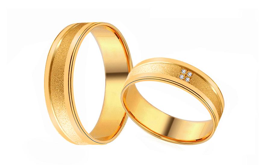 Klassische Eheringe aus Gelbgold mit Steinen (RYOB137)  gSchmuck.ch