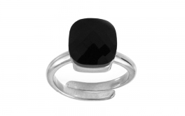 Damen Silberring Jet Black
