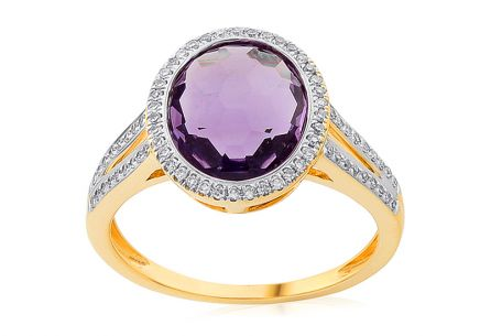 Amethyst Goldring mit Diamanten 0,200 ct