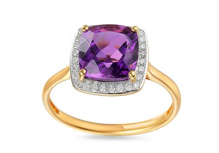 Amethyst Ring mit Diamanten Liriene 0,100 ct