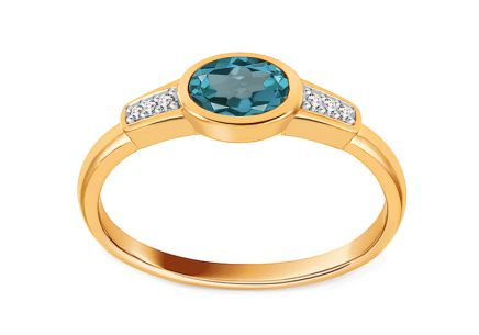 Brillant Goldring 0,020 ct mit London Blue Topas