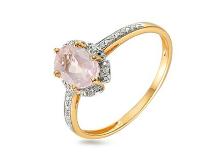 Brillant Goldring mit rosa Quarzit 0,030 ct Chenoa