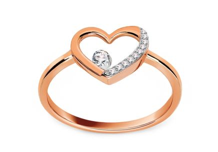 Brillant Ring aus Roségold Herz aus der Kollektion Diamond Heart 0,060 ct