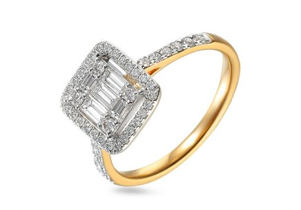 Brillant Ring mit Baguette Diamanten 0,670 ct