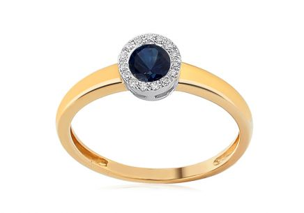 Brillant Ring mit Saphir 0,060 ct