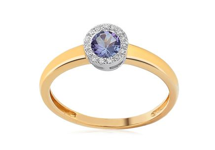 Brillant Ring mit Tansanit 0,060 ct