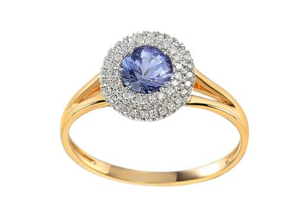 Brillant Ring mit Tansanit 0,110 ct