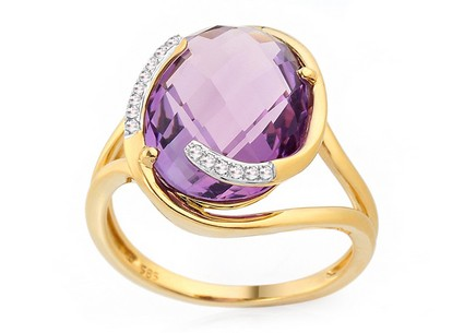 Gold Diamantring mit Amethyst