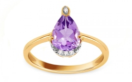 Goldring mit Amethyst und Diamanten 0,020 ct Tarlines 2