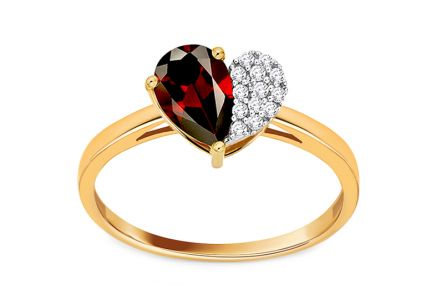 Ring mit Granatstein und Diamanten 0,060 ct Loving Heart