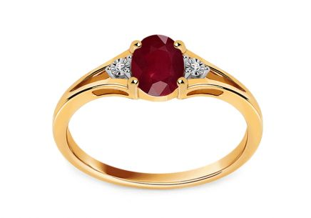 Rubin Goldring mit Diamanten 0,010 ct