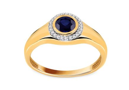Saphir Goldring mit Diamanten 0,060 ct