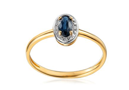 Saphir Ring mit Brillanten 0,010 ct