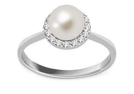 Gold Perlenring Loreen white