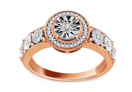 Ring aus Roségold mit Diamanten 0,100 ct Allia