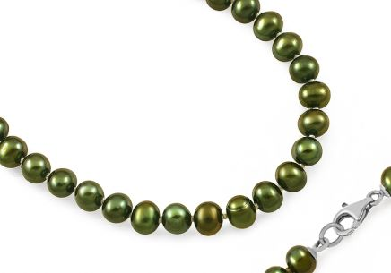 Damen Perlen Collier Green