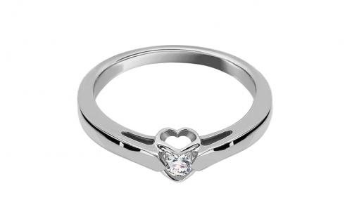 Verlobungsring mit Diamanten 0,100 ct Romantic Hearts white - KU230A