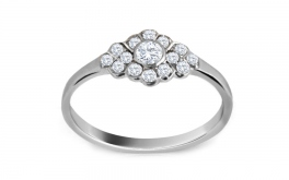 Verlobungsring mit Diamanten 0,150 ct Diamond Hearts white